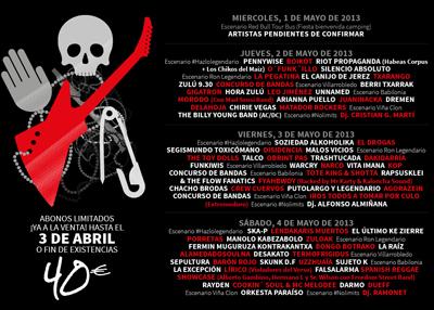 Viñarock 2013 Horarios Cartel